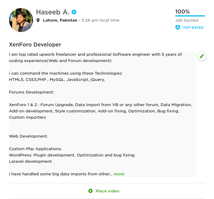 freelance web developer haseeb